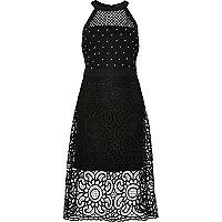 Black '90s studded prom dress