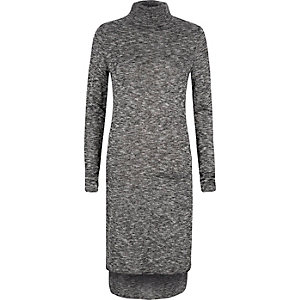 Grey knitted roll neck dress