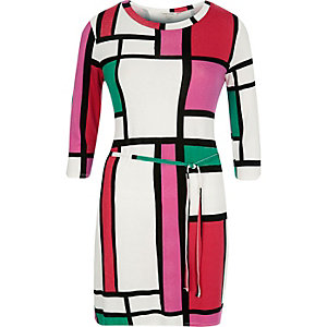 White color block jersey belted tunic
