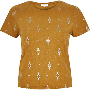 Brown foil print t-shirt