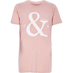 Pink stripe slogan print t-shirt