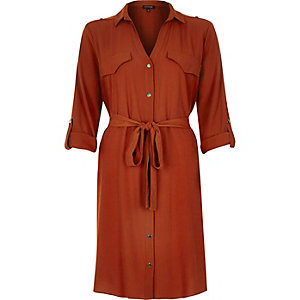 Rust brown shirt dress