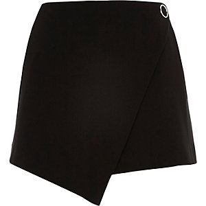 Black asymmetric eyelet mini skort