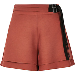 Brown belted soft shorts