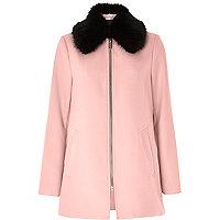 Manteau évasé rose clair avec col en fausse fourrure