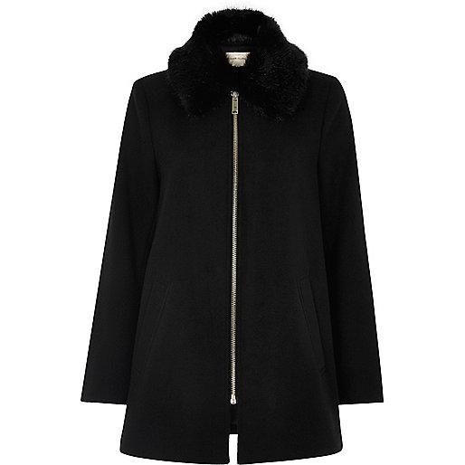 Black faux fur collar swing coat