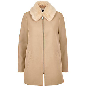 Camel faux fur collar swing coat
