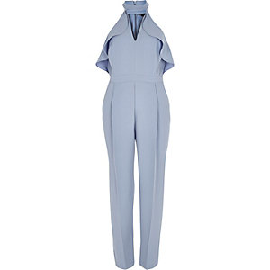 Blue frill plunging jumpsuit