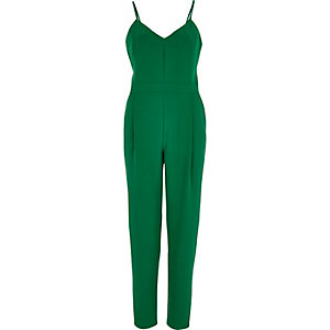 Green tapered jumpsuit