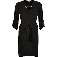 Black gold bar shirt dress