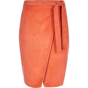 Orange faux suede wrap skirt
