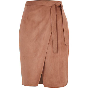 Brown faux suede wrap skirt