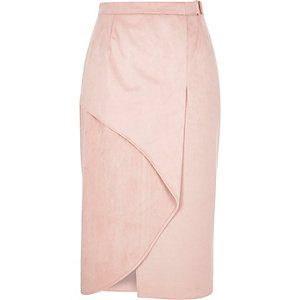 Light pink faux suede wrap pencil skirt