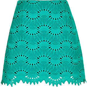 Green lace mini skirt
