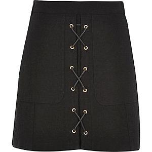 Black lace-up mini skirt