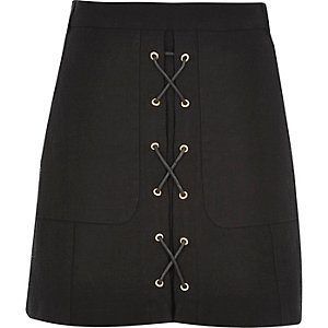 Black lace-up mini skirt