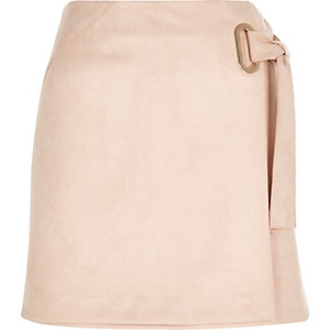 Light pink faux suede wrap skirt