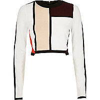 Crop top colour block blanc
