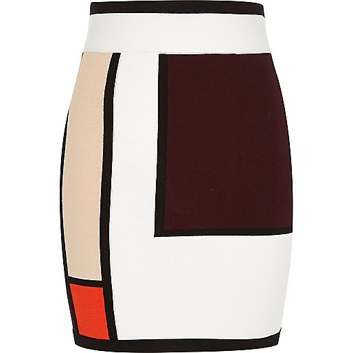 White colour block knit mini skirt
