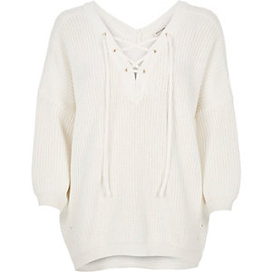 Cream knitted lace-up sweater
