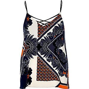Orange printed strap back cami