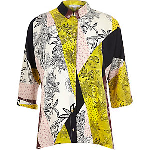 Lime printed hanky hem shirt