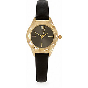 Gold tone black strap watch