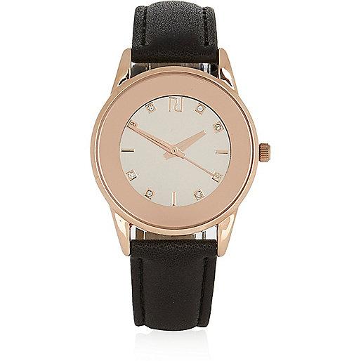 Rose gold tone black strap watch