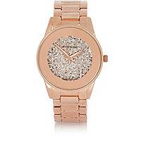 Rose gold tone glam glitter watch
