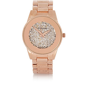Rose gold tone glam glitter watch