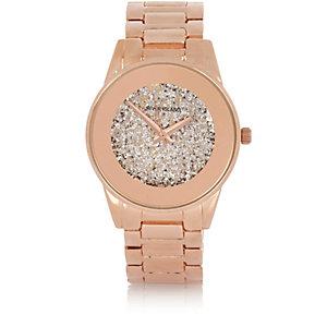 Glamouröse, glitzernde Armbanduhr in Roségold