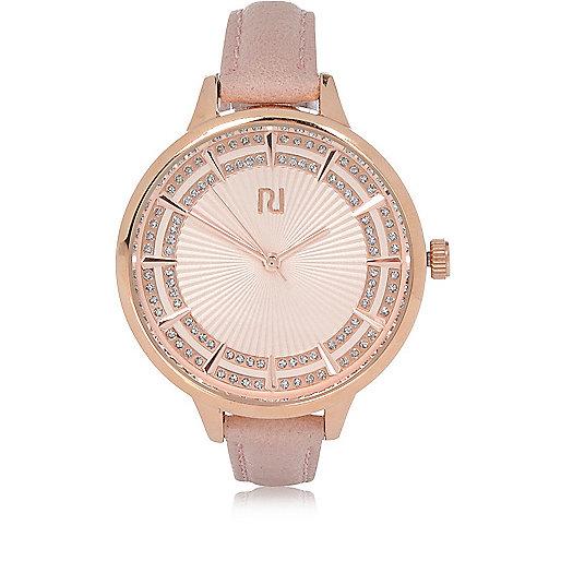 Uhr in Hellrosa mit schmalem Armband