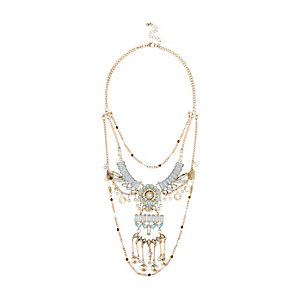 Gold tone layered festival necklace