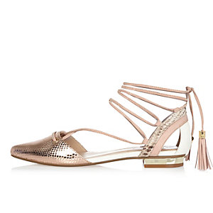 Gold tone lace-up ballerina shoes