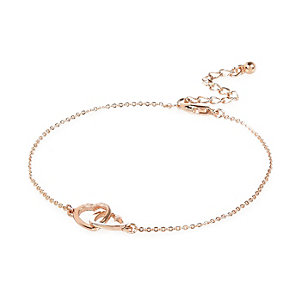 Rose gold tone linking heart anklet