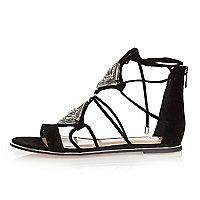 Black embellished lace-up sandals