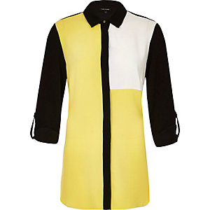 Yellow color block belted shirt