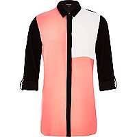 Pink color block belted shirt
