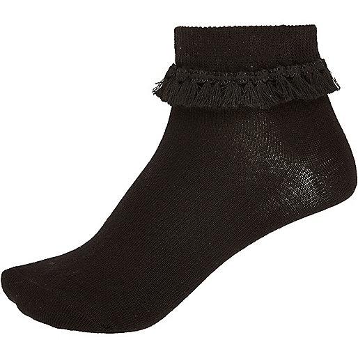 Schwarze Sneakersocken mit Quaste