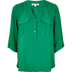 Green utility blouse