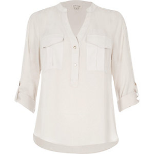 Light grey utility blouse