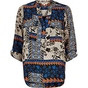 Blue floral print utility blouse