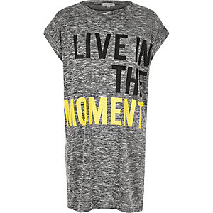 Grey slogan print oversized t-shirt