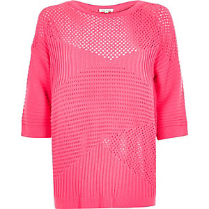 Pink pointelle soft knit sweater