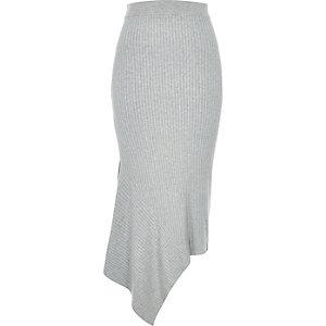 Grey asymmetric maxi skirt