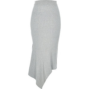 Grey asymmetric maxi skirt