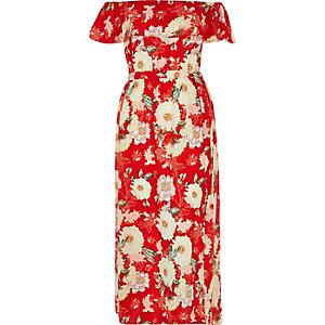 RI Plus red floral print bardot maxi dress