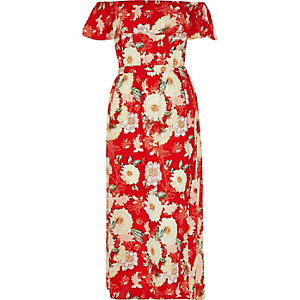 RI Plus red floral print bardot maxi dress