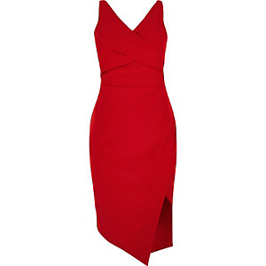 RI Plus red wrap asymmetric bodycon dress