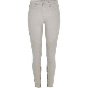 Grey biker-style Amelie super skinny jeans